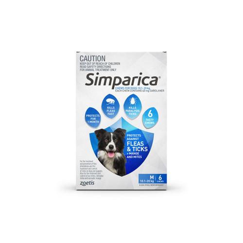 Simparica For Medium Dogs 22-44lbs (10.1-20kg) - 6 Chews