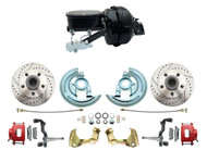1964-74 GM A, F, X  Disc Brake Kit- Drilled/Slotted Rotors, Red Powder Coated Calipers Oval Style Master Cylinder