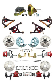 """GM 1967-72 A-Body Front & Rear Disc Brakes, Red PC Calipers, 11"""" Power & Control Arm Package"""