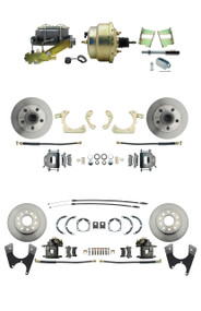 "DBK59641012FS-GMFS2-211 - 1959-1964 GM Full Size Front & Rear Power Disc Brake Kit (Impala, Bel Air, Biscayne) & 8"" Dual Zinc Booster Conversion Kit w/ Cast Iron Master Cylinder Left Mount Disc/ Drum Proportioning Valve Kit"