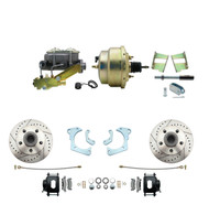 """DBK6568LXB-GMFS3-205 - 1965-1968 GM Full Size Front Disc Brake Kit Black Powder Coated Calipers Drilled/Slotted Rotors (Impala, Bel Air, Biscayne) & 8"""" Dual Zinc Booster Conversion Kit w/ Cast Iron Master Cylinder Left Mount Disc/ Drum Proportioning"""