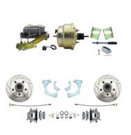 "DBK6568LX-GMFS3-205 - 1965-1968 GM Full Size Disc Brake Kit Drilled/Slotted Rotors (Impala, Bel Air, Biscayne) & 8"" Dual Zinc Booster Conversion Kit w/ Cast Iron Master Cylinder Left Mount Disc/ Drum Proportioning Valve Kit"