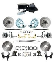 "DBK64721012-GM-411 - 1964-1972 GM A Body Front & Rear Power Disc Brake Conversion Kit Standard Rotors w/ tandem 8"" Dual Powder Coated Black Booster Kit"