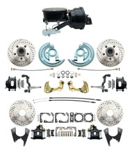 """DBK64721012LXB-GM-411 - 1964-1972 GM A Body Front & Rear Power Disc Brake Conversion Kit Drilled & Slotted & Powder Coated Black Calipers Rotors w/ tandem 8"""" Dual Powder Coated Black Booster Kit"""