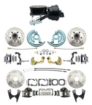 """DBK64721012LX-GM-411 - 1964-1972 GM A Body Front & Rear Power Disc Brake Conversion Kit Drilled & Slotted Rotors w/ 8""""Dual Zinc Booster Kit w/ tandem 8"""" Dual Powder Coated Black Booster Kit"""