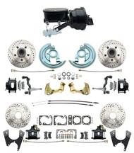 "DBK67691012LXB-GM-415 - 1967-1969 Camaro/ Firebird & 1968-1974 Chevy Nova Front & Rear Power Disc Brake Conversion Kit Drilled & Slotted & Powder Coated Black Calipers Rotors w/ tandem 8"" Dual Powder Coated Black Booster Kit"