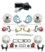 """DBK67691012LXR-GM-415 - 1967-1969 Camaro/ Firebird & 1968-1974 Chevy Nova Front & Rear Power Disc Brake Conversion Kit Drilled & Slotted & Powder Coated Red Calipers Rotors w/ tandem 8"""" Dual Powder Coated Black Booster Kit"""