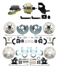 """DBK6272834LXB-MP-207 1962-72 Mopar B&E Body  Front & Rear Disc Brake Conversion Kit w/ Drilled & Slotted Rotors & Powder Coated Black Calipers ( Charger, Challenger, Coronet) w/ 8"""" Dual Zinc Booster Conversion Kit w/ Left Mount Valve"""