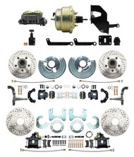 """DBK6272834LXB-MP-208 1962-72 Mopar B&E Body Front & Rear Disc Brake Conversion Kit w/ Drilled & Slotted Rotors & Powder Coated Black Calipers ( Charger, Challenger, Coronet) w/ 8"""" Dual Zinc Booster Conversion Kit w/ Adjustable Valve"""