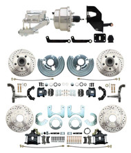 """DBK6272834LXB-MP-330 1962-72 Mopar B E Body Front & Rear Disc Conversion w/ Drilled & Slotted Rotors & Powder Coated Black Calipers ( Charger, Challenger, Coronet) w/ 8"""" Dual Chrome Booster Conversion Kit w/ Flat Top Chrome Master Cylinder Kit"""