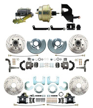 "DBK6272834LX-MP-207 1962-72 Mopar B&E Body  Front & Rear Disc Brake Conversion Kit w/ Drilled & Slotted Rotors ( Charger, Challenger, Coronet) w/ 8"" Dual Zinc Booster Conversion Kit w/ Left Mount valve Kit"