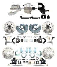 "DBK6272834LX-MP-331 1962-72 Mopar B & E Body Front & Rear Disc Brake Conversion Kit w/ Drilled & Slotted Rotors ( Charger, Challenger, Coronet) w/ 8"" Dual Chrome Booster Conversion Kit w/ Flat Top Chrome Master Cylinder & Left Mount Valve Kit"