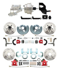"""DBK6272834LXR-MP-330 1962-72 Mopar B&E Body Front & Rear Disc Brake Conversion Kit w/ Drilled & Slotted Rotors & Powder Coated Red Calipers ( Charger, Challenger, Coronet) w/ 8"""" Dual Chrome Booster Conversion Kit w/ Flat Top Chrome Master Kit"""