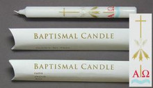 9 x 7/8 Baptismal Candles (pillow pack Individually) Pack of 20