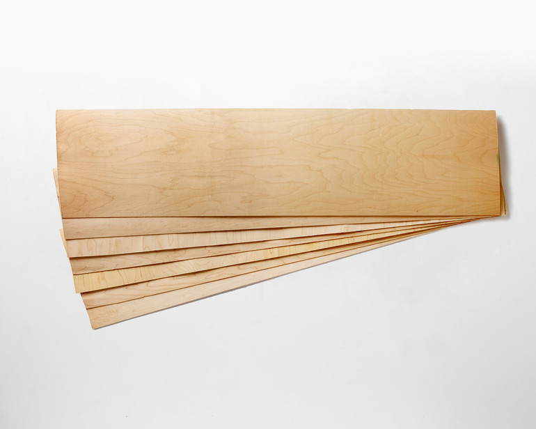 """Slightly smaller! 11 x 41 x 1/16"""" Maple skateboard veneer.   Order as many 7-layer sets as you want, no minimum!"""