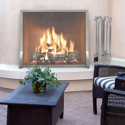 pilgrim newport s s single panel fireplace screen