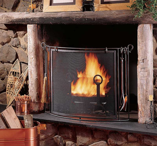 Pilgrim Vintage Iron Fireplace Screen W Tools