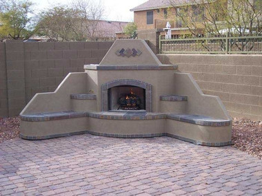 Santa Fe Corner Outdoor Gas Fireplace