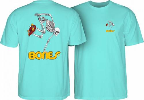 Powell Peralta Old School Skatingboarding Skeleton T-Shirt (Aqua)