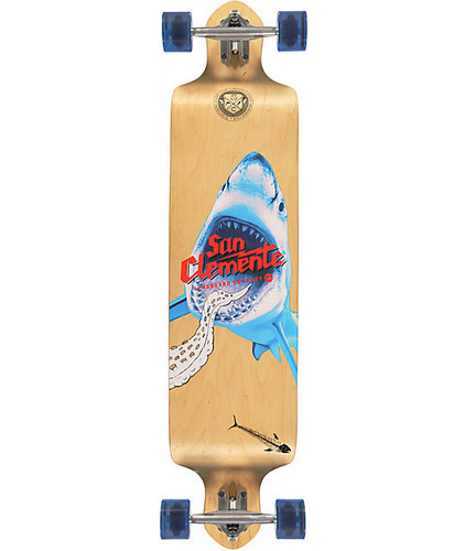 "San Clemente Shark Racer Drop DownLongboard 41.25"" FREE USA SHIPPING"