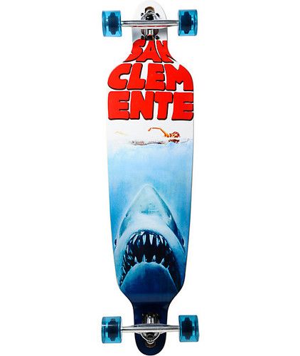 "San Clemente Bamboo Shark Week Drop Thru Longboard 39.75"" FREE USA SHIPPING"