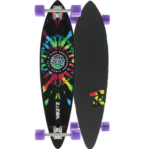 "Z-Flex Top Shelf Tie Dye Pintail Longboard 9"" X 38"" FREE USA SHIPPING"