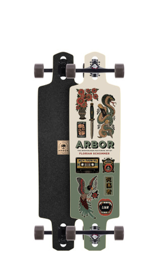 "Arbor Dropcruiser AC Longboard 9.5"" X 38"" (Available as Deck or Complete) FREE USA SHIPPING"