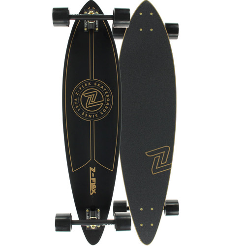 "Z-Flex Black & Gold Top Shelf Longboard Complete  9"" X 38""  FREE USA SHIPPING"