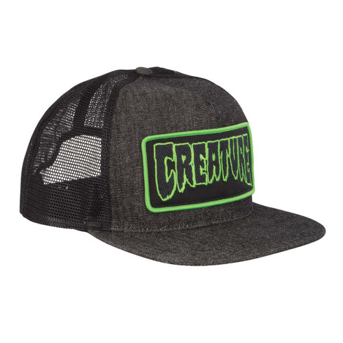 Creature Patch Black Denim Trucker Hat