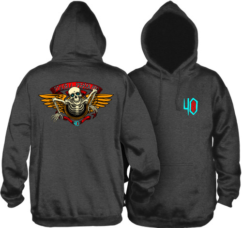 Powell Peralta 40th Anniversary Winged Ripper Pullover Hooded Sweatshirt Charocal