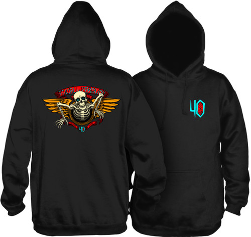 Powell Peralta 40th Anniversary Winged Ripper Pullover Hooded Sweatshirt Black