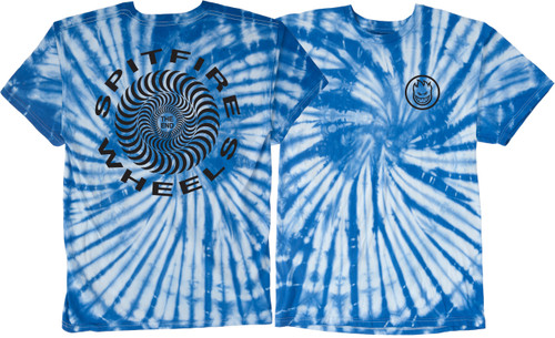 Spitfire Wheels Retro Classic Blue Tie-Dye T-Shirt