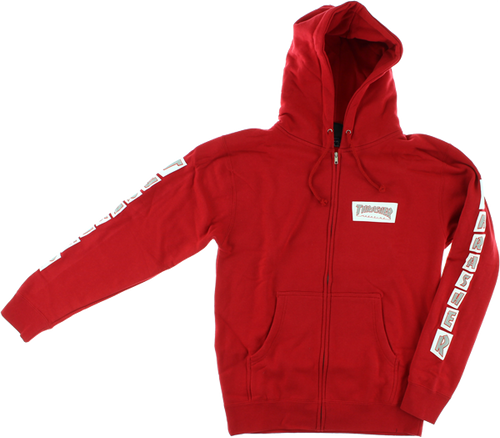 Thrasher Boxed Logo Zip Up Hooded Sweatshirt Red