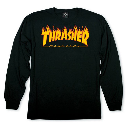 Thrasher Flame Logo Long Sleeve Shirt Black