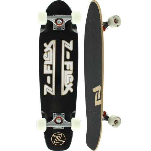 "Z-Flex Z-Bar Black & White Cruiser Skateboard 7.5"" X 29.5"" FREE USA SHIPPING"