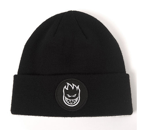Spitfire Bighead Circle Patch Cuff Beanie Black