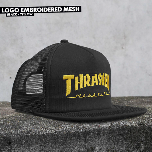 Thrasher Mag Logo Embroidered Mesh Snapback Hat (Available in 2 Colors)