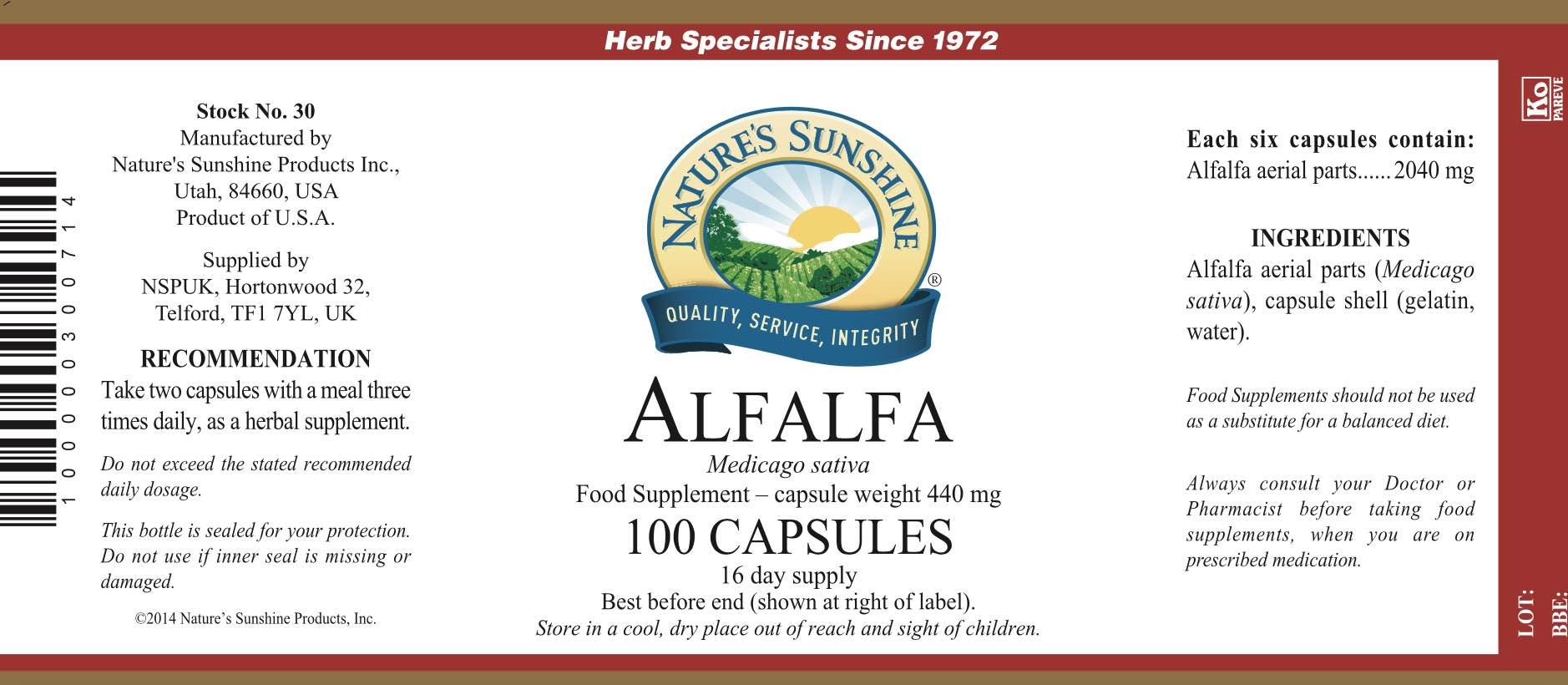 Nature's Sunshine - Alfalfa - Label