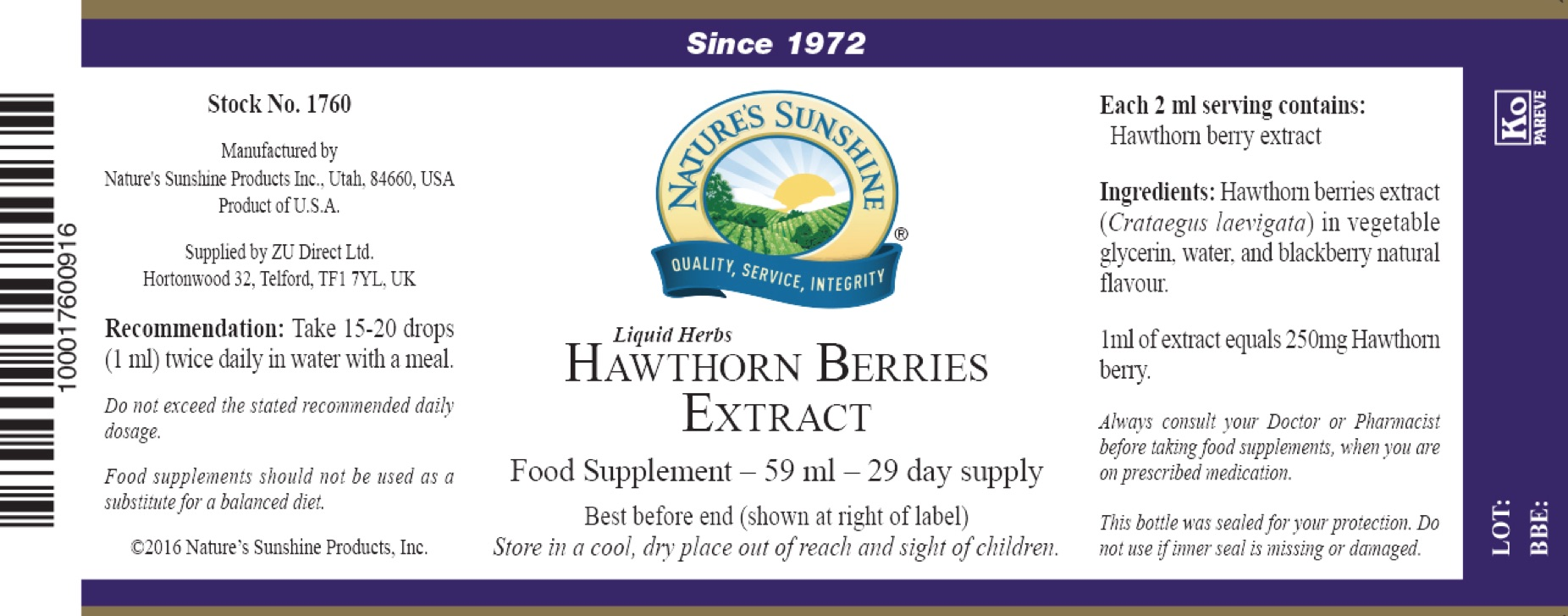 Nature's Sunshine - Hawthorn Berries Extract - Label