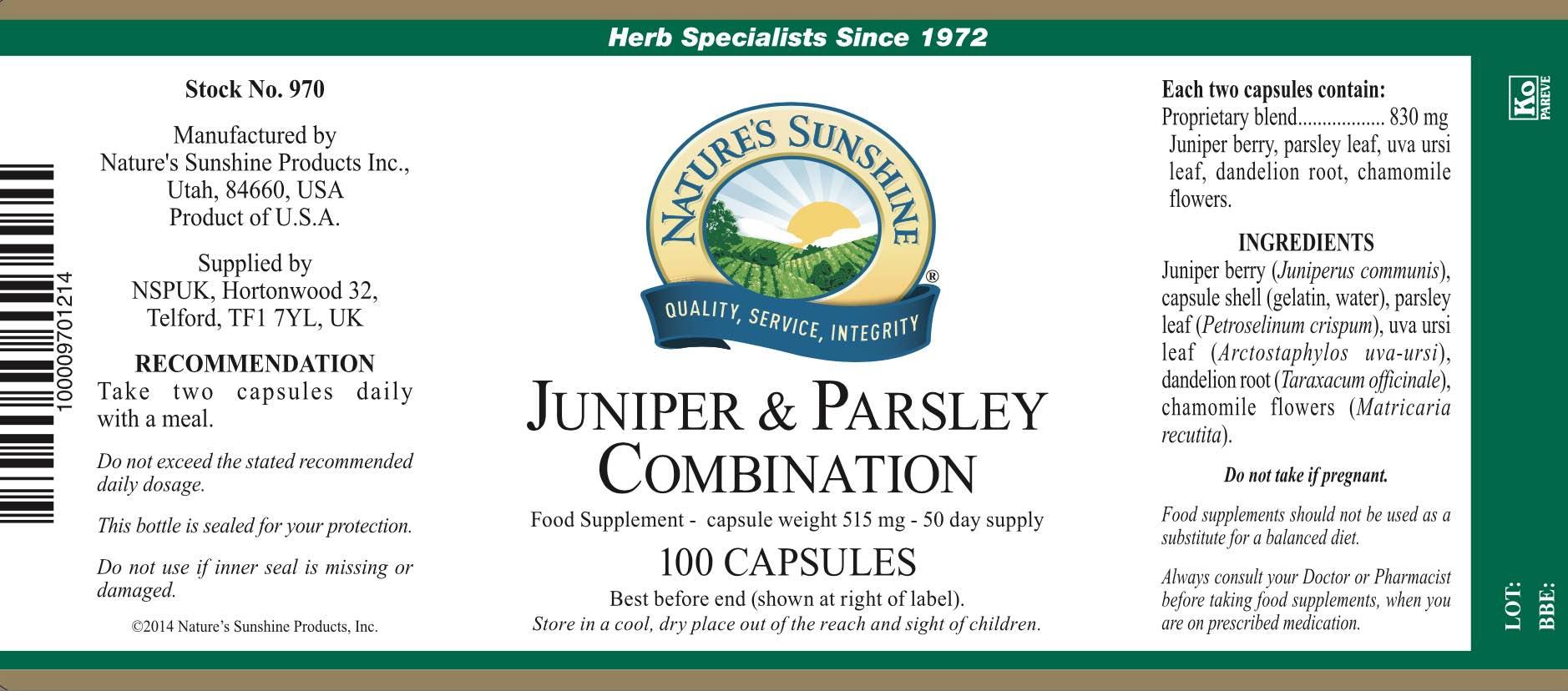 Nature's Sunshine Juniper & Parsley Combination - Label