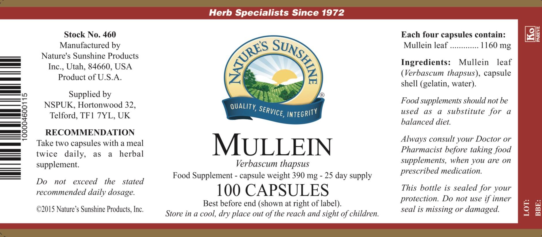 Nature's Sunshine - Mullein - Label