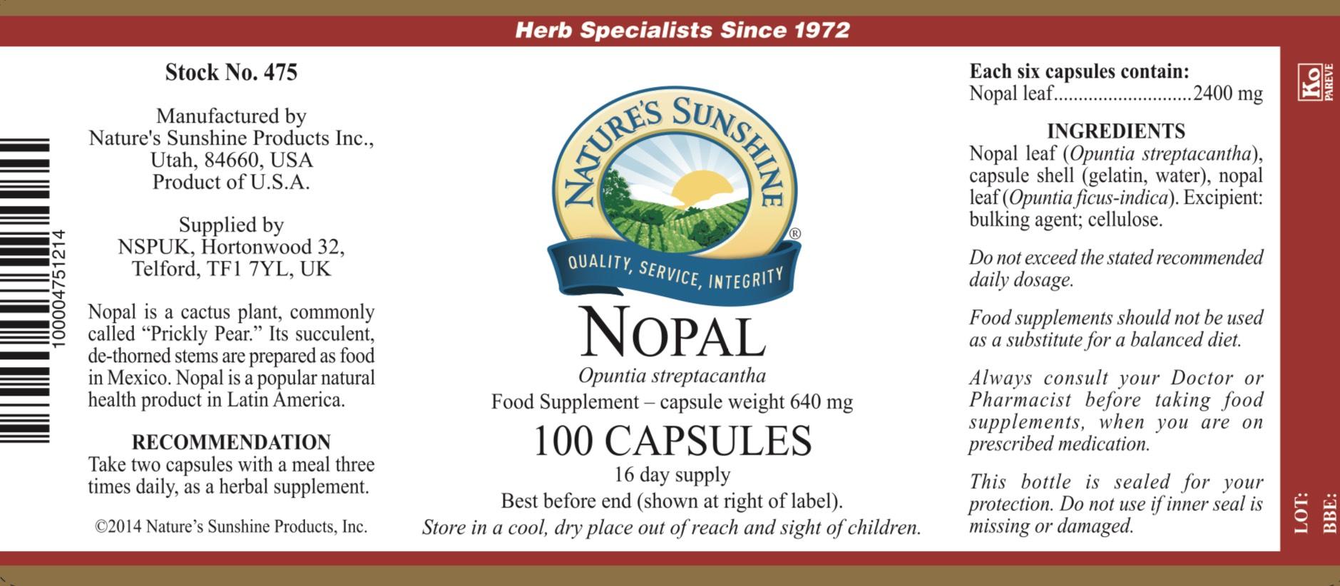 Nature's Sunshine - Nopal - Label