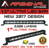 "#1 13"" Arsenal Offroad Ultra Slim 1"" Thick Real Cree LED's 30/60 Degree Super Combo LED Light Bar, 36w 3,600 Lumen, Off Road, Polaris RZR, UTV, Trucks, Raptor, Jeep, Bumper Rock, Rock Light"