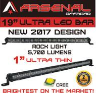 "#1 19"" Arsenal Offroad Ultra Slim 1"" Thick Real Cree LED's 30/60 Degree Super Combo LED Light Bar, 54w 5,700 Lumen, Off Road, Polaris RZR, UTV, Trucks, Raptor, Jeep, Bumper Rock, Rock Light"
