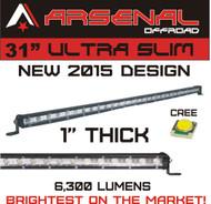 "#1 31"" Arsenal Offroad Ultra Slim 1"" Thick Real Cree LED's 60 / 30 Degree Super Spot Flood Combo LED Light Bar, 90w 6,300 Lumen, Off Road, Polaris RZR, UTV, Trucks, Raptor, Jeep, Bumper Rock, Rock Light"