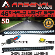 "46"" 5D HALO LED Light Bar by Arsenal Offroad HALO DRL / Super Spot-CREE 10W LED's 240w 21,600 Lumen, Off Road, Polaris RZR UTV Trucks Raptor Jeep Bumper Rock FREE Wireless Remote Control Wire Harness"