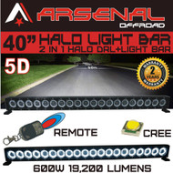 "40"" 5D HALO LED Light Bar by Arsenal Offroad HALO DRL / Super Spot-CREE 10W LED's 200w 19,200 Lumen, Off Road, Polaris RZR UTV Trucks Raptor Jeep Bumper Rock FREE Wireless Remote Control Wire Harness"