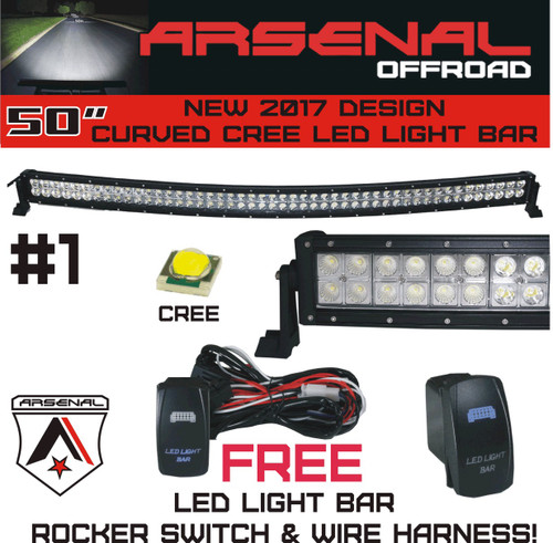 No1 50 inch curved 288w cree led light bar by arsenal offroad tm image 1 mozeypictures Gallery