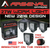#1 4X 27w Arsenal OffroadTM Square LED Work Light Lamp Off Road High Power ATV Jeep Wrangler 4x4 Rv Trailer Fishing Boat Tractor Truck Spot (pack of 4)