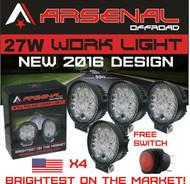 "#1 27w 4x 4"" Round LED Pencil Beam Spot light Arsenal OffroadTM Brightest on the Market! Off Road Trucks Boats 4x4 Jeeps ATV UTV Rhino Razor boats 12volt Combo 4 Pack"